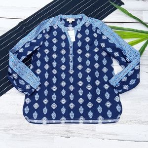Appleseed's  Blue Paisley Long Sleeve Blouse MP